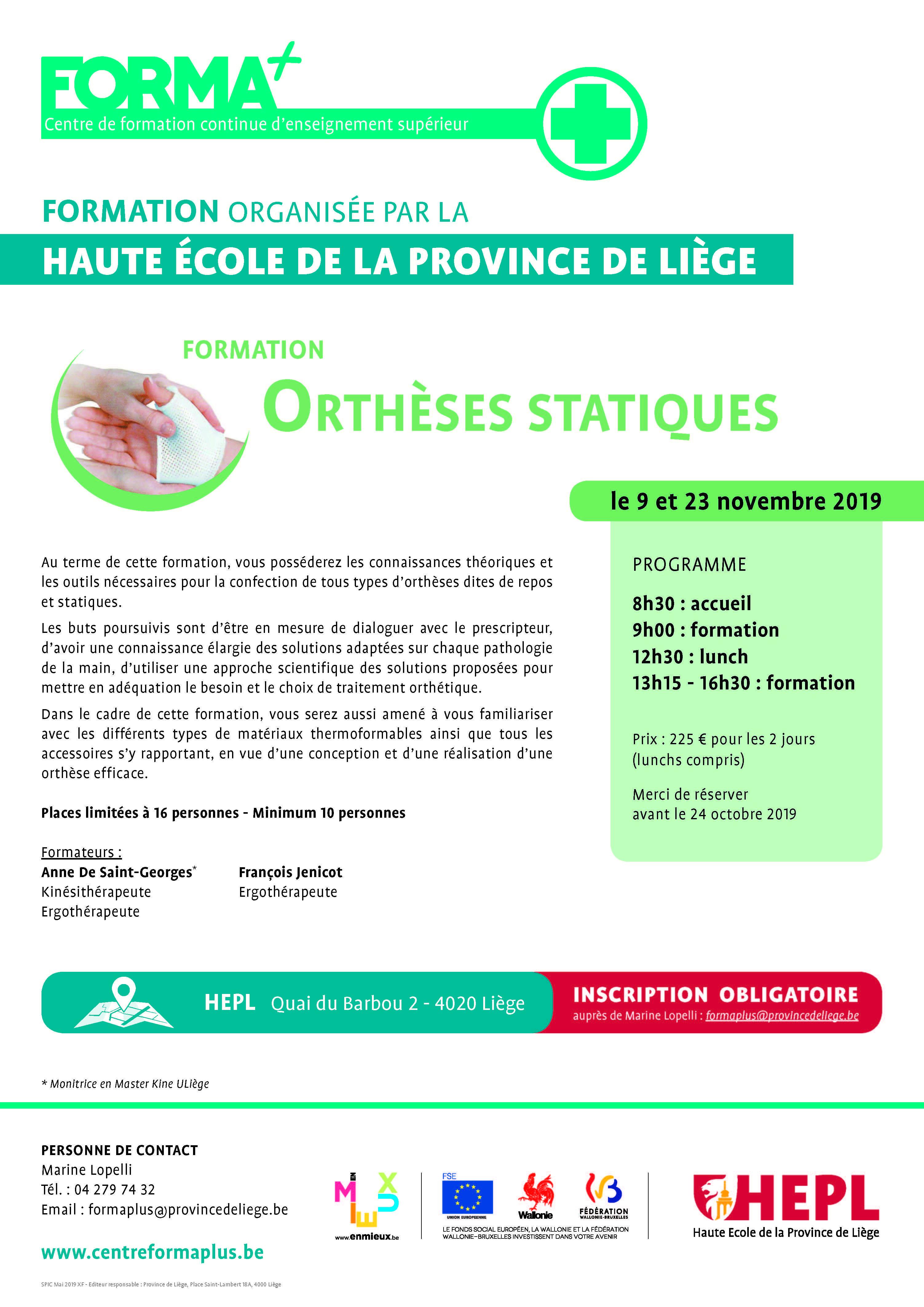Formation 2019 Orthèses Statiques