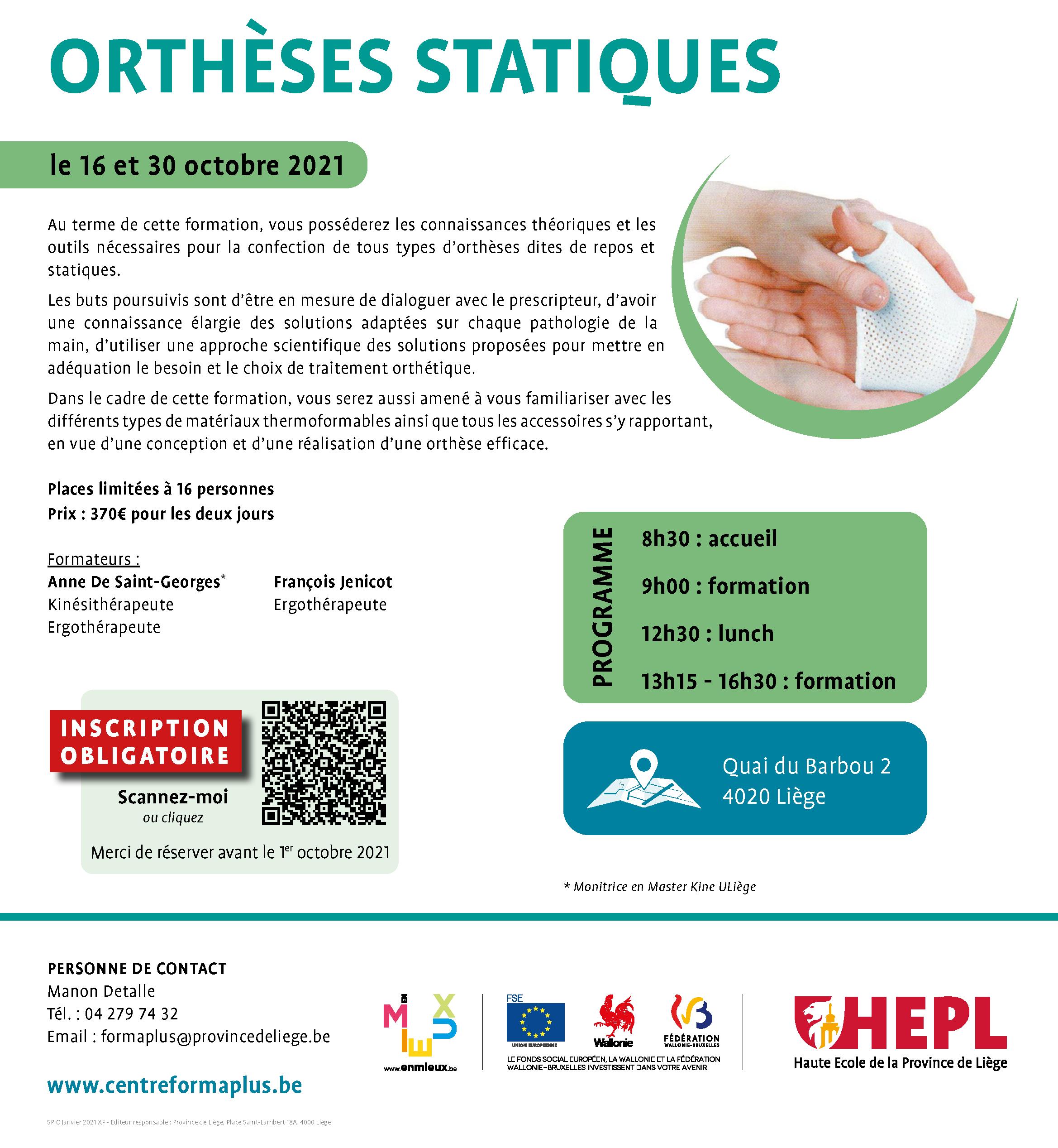 HEPL - Formation orthèses statiques 2021